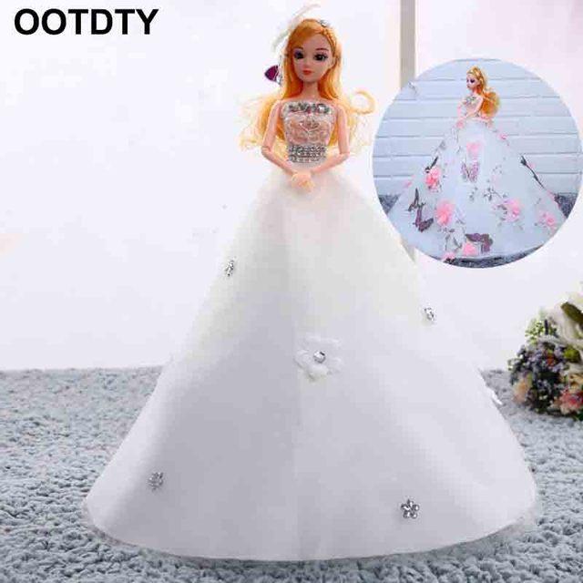 finest selection aa383 fed10 Abito da sposa Bambola Neve Bianco Bella 3D Reale Occhi Creativo  Decorazione Fatta A Mano Per Le Ragazze Regali Di Compleanno