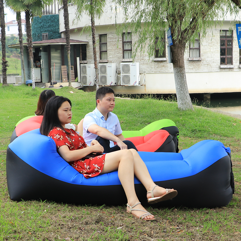 Fast Folding Inflatable Sun Lounger Outdoor Furniture Camping Lazy Bag Air Sofa Beach Bed Lounge Chair Lazy Sofa Lounger