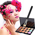 Fashion 15 Colors Face Contour Cream Party Concealer Camouflage Palette+1 Nylon Makeup Brush with Wood Handle