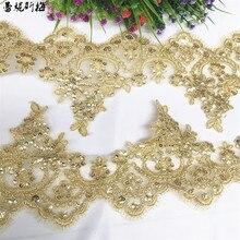 Delicate 3Yards Gold Pailletten Aufzeichnung Spitze Zubehör Hochzeit Kleid Vorhang Hause Gold Gelb Spitze Zubehör Trim 13cm LJ0110