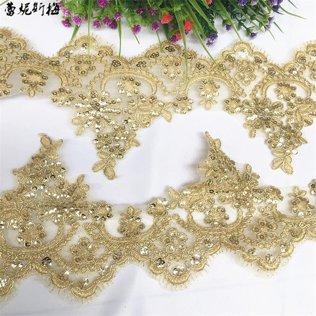 Delicate 3Yards Gold Sequin Cording Lace Accessories Wedding Dress Curtain Home Gold Yellow Lace Accessories Trim 13cm LJ0110