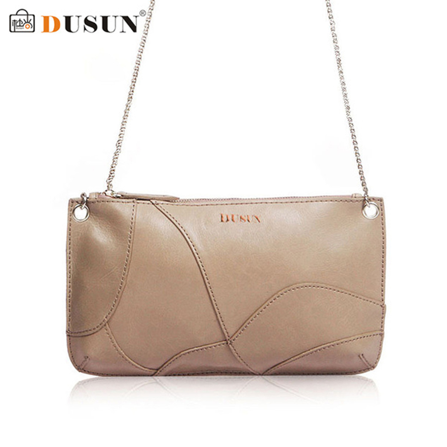 2018DUSUN Fashion Genuine Leather Handbags Women Luxury Chains Shoulder Bag Ladies Zipper Clutch Bags Bolsa Feminina Solid Color