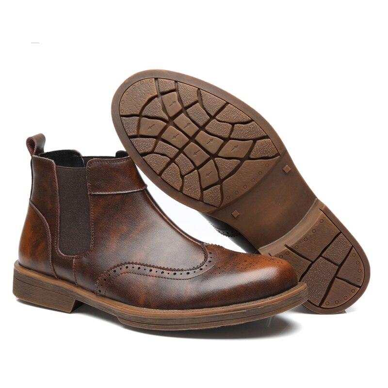 Nouveau De Hommes Chaussures Bottines marron Slip Hiver vin Noir Homme Rouge M116 Bottes Décontractées automne Cuir Chelsea Véritable on En qErtwqnAvx