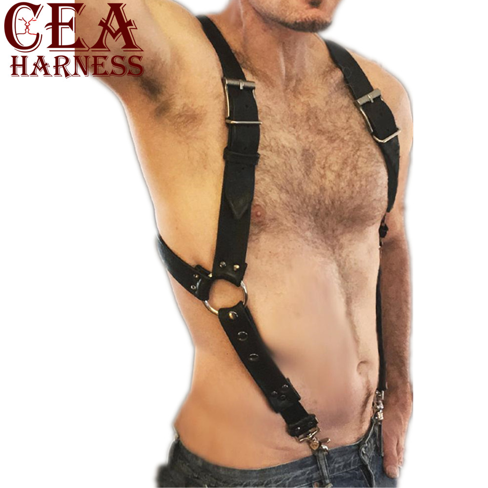 CEA.HARNESS <font><b>Mens</b></font> <font><b>Sexy</b></font> PU <font><b>Leather</b></font> Harness <font><b>Belts</b></font> Adjustable Buckles Body Chest Harness Straps Clubwear <font><b>Men</b></font> Sex Fetish Bondage Top image