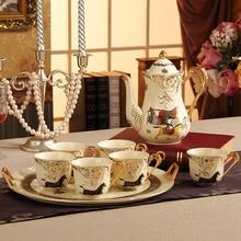 Coffee Set(4 peoples) Bone China Porcelain Tea Set Ceramic Pot Creamer Sugar Bowl Teatime Teapot Coffee Cup Mug with big tray