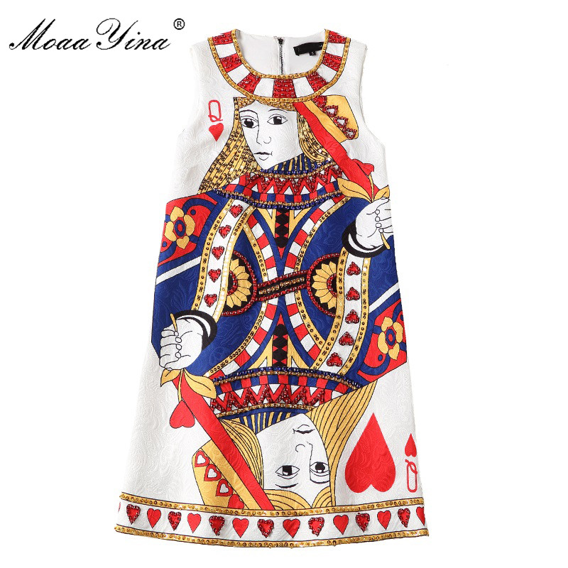 MoaaYina Fashion Designer Runway Mini Dress Summer Women Sleeveless Jacquard Playing cards Beaded Sequins Sexy Retro Dress