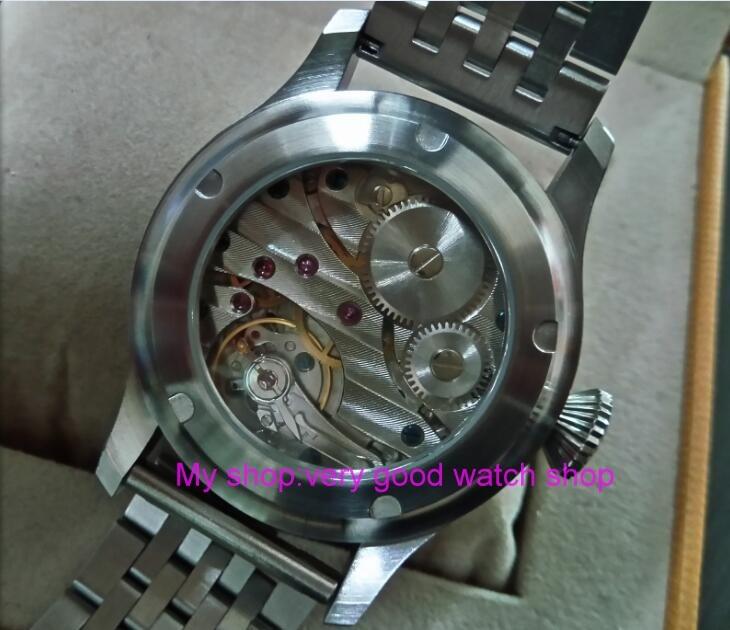 47mm parnis Black dial Asian 6497 17 jewels Mechanical Hand Wind gooseneck movement men watch green luminous zdgd272a