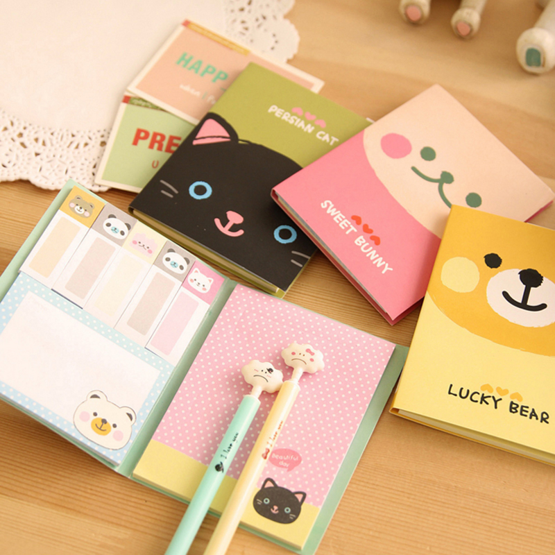NNRTS Cartoon animals foldable memo pad post it paper sticker cute stationery sticky notes office school supplies image