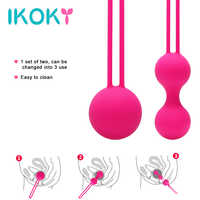 IKOKY 2Pcs/Set Silicone Kegel Ball Smart Vagina Trainer Exercise Vagina Tightening Love Ben Wa Ball Vibrator Sex Toys for Woman