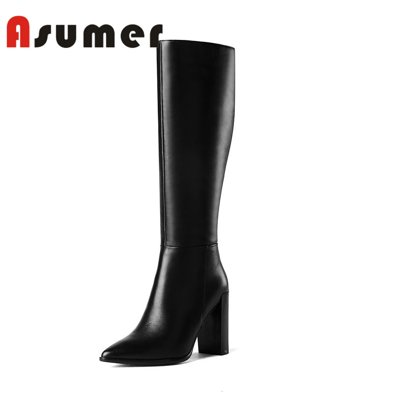 ASUMER NEW 2018 thick heels knee high boots pointed toe solid high heels boots winter women classic pu+genuine leather boots цены онлайн