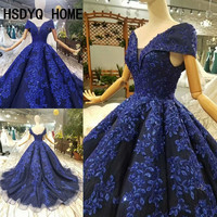 HSDYQ HOME Royal Blue prom Dresses Luxury sleeveless Evening prom dress Ball gown Vestidos Sexy party gown