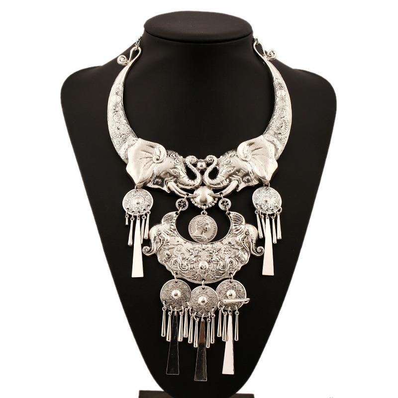 Značka stříbrná barva velký velký náhrdelník Maxi česká módní náhrdelník šperky Colar Collier módní styl etnický střapec náhrdelník