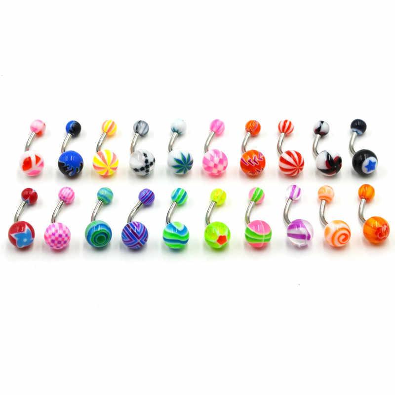 3 Pc สีสันเซ็กซี่บาร์ Body Piercing Ring แหวน Navel Barbell เครื่องประดับ Lip Piercing Unisex แฟชั่นเครื่องประดับ