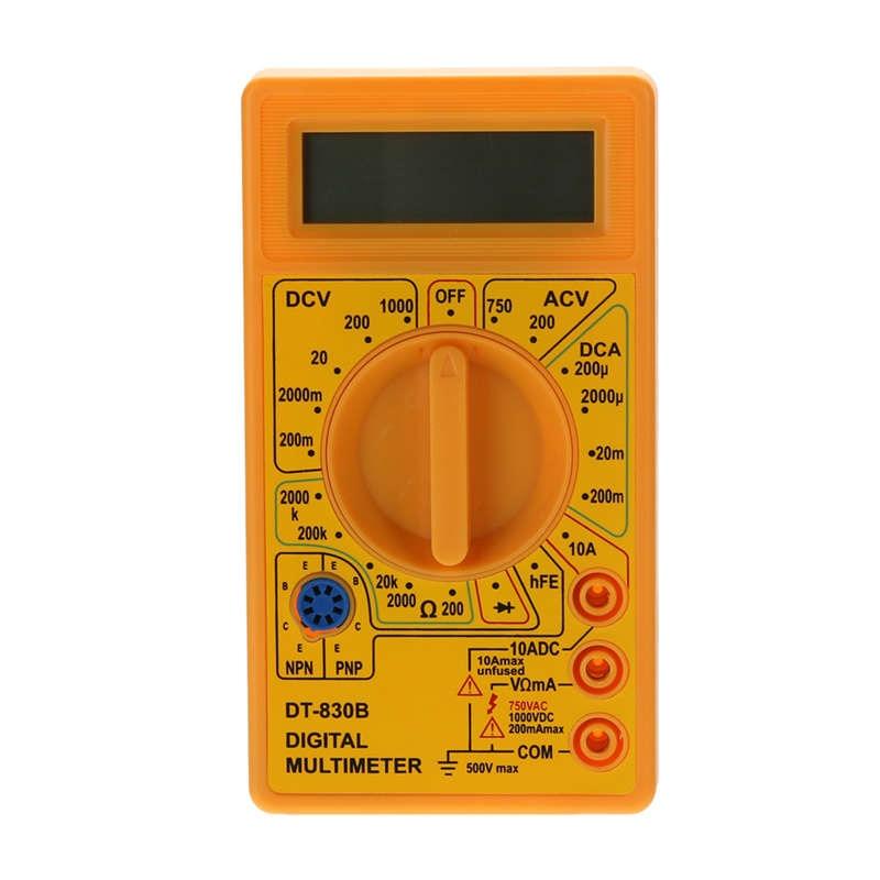Yellow LCD Digital Multimeter DT-830B Electric Voltmeter Ammeter Ohm Tester AC/DC 750/1000V Amp Volt Ohm Tester Meter