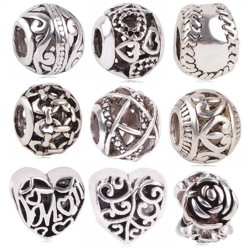 4b9398f4e dodocharms New Antique Silver Color Softball Rose Love Hollow Mom Bead Charm  For European Pandora Charm Bracelets-in Beads from Jewelry & Accessories on  ...