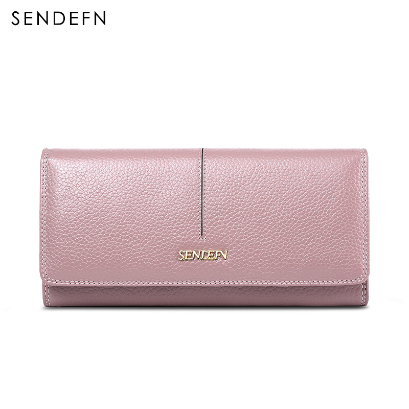 SENDEFN Women Fashion Genuine Leather Wallet Long Lady Purse Clutch Card Holder Phone Pocket Female Wallets high quality floral wallet women long design lady hasp clutch wallet genuine leather female card holder wallets coin purse