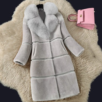 Sheep shearing cashmere coat 2018 autumn winter long coat of the imitation fox fur collar coat fur women coat plus size 5xl
