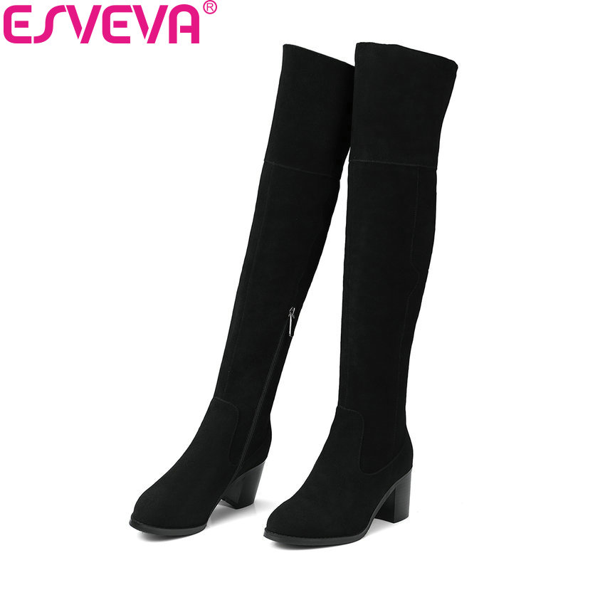 ESVEVA 2018 Women Boots Zipper Cow Suede Round Toe Over The Knee Boots Out Door Square High Heel Fashion Ladies Boots Size 34-39 nikove 2018 women boots western style high heel over the knee boots round toe spring and autumn fashion ladies boots size 34 39