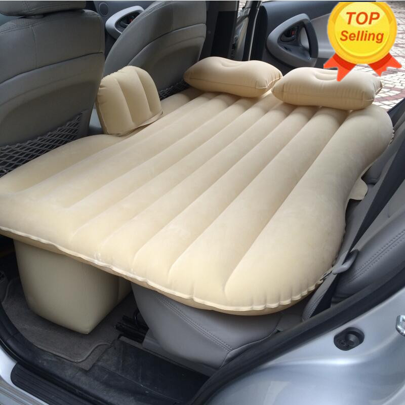 2016 (Black) Universal SUV Car Travel Inflatable Mattress Inflatable car bed for back seat Bed Cushion flocking material!! drive travel deflatable air inflation bed mattress suv camping pvc material car seat cover cushion with car electric air pump