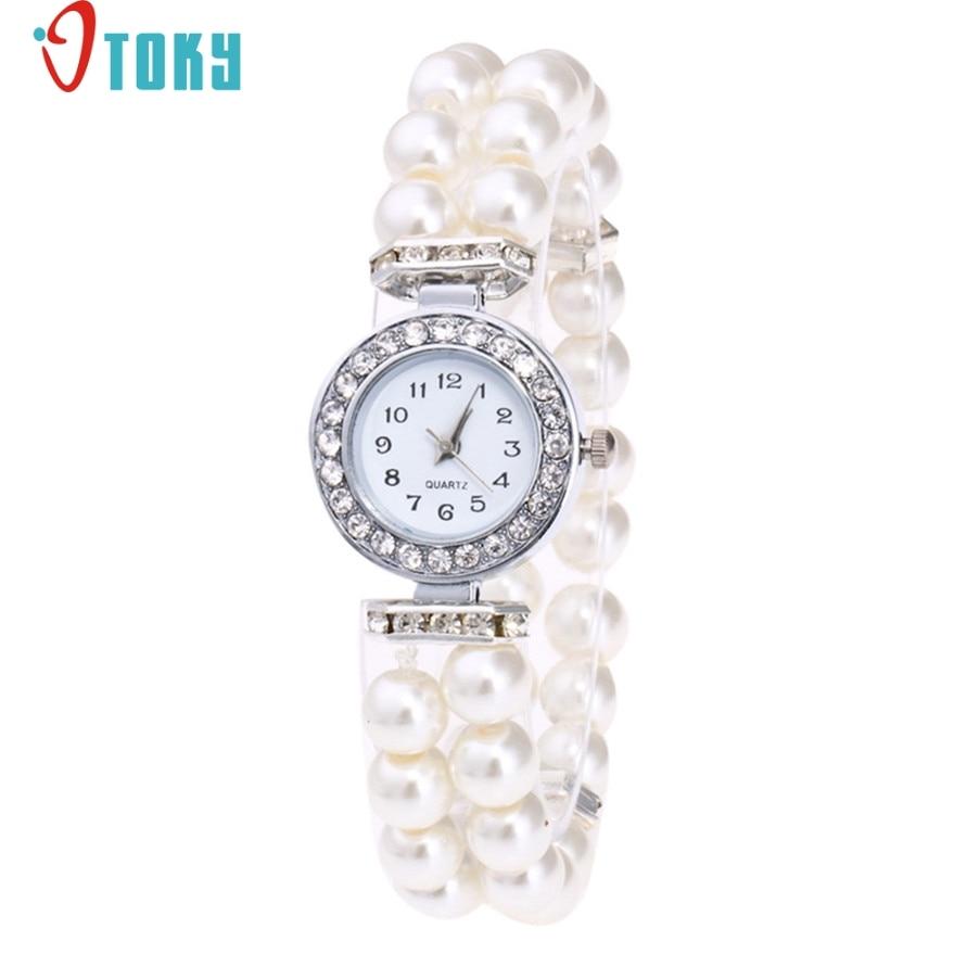 Willby Fashion Lady Pearl Beads Rhinestone Elastic Bracelet Wrist Watch Women Quartz Dress Watches 170525 pair of stylish rhinestone alloy stud earrings for women