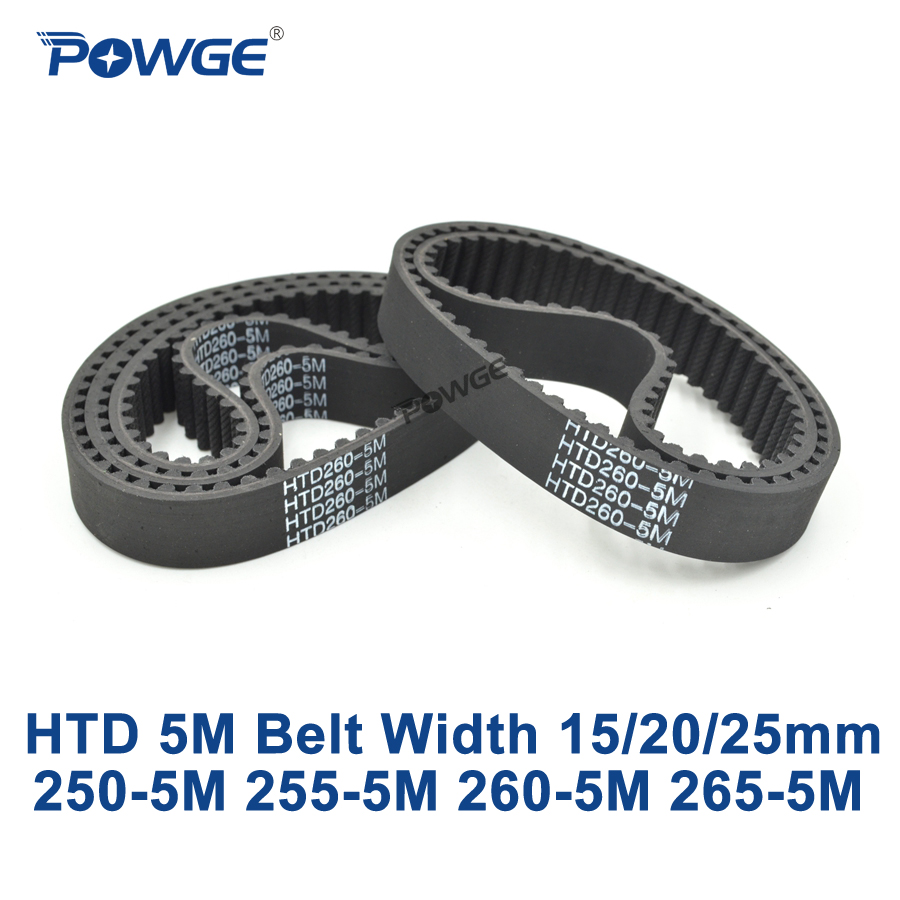 POWGE HTD 5M Timing belt C=250/255/260/265 width 15/20/25mm Teeth 50 51 52 53 HTD5M synchronous Belt 250-5M 255-5M 260-5M 265-5M