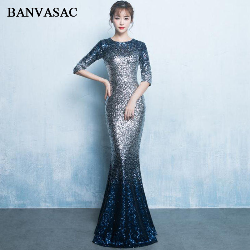 BANVASAC 2018 O Neck Vintage Gradient Sequined Mermaid Long Evening Dresses Lace Half Sleeve Party Prom Gowns
