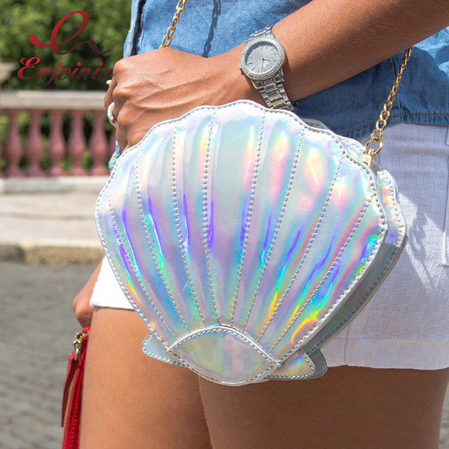 Divertido QUENTE personalizado moda laser forma da concha bolsa de ombro cadeia bolsa meninas senhoras crossbody bolsa mini messenger bag flap