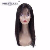 REINE DE LA MODE Droite de Cheveux Humains Avant de Lacet Perruques de Cheveux Humains avec Bébé Cheveux Frange Perruque Pour Les Femmes 130% Densité Naturel couleur