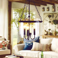 Clear Glass Bell Shade E14 Lights Bulb Vintage Pendant Light Black Chain Loft Cafe Bar Living Room Pendant Modern Light Fixture
