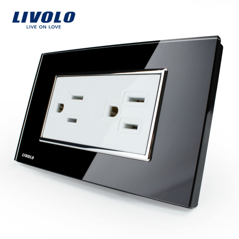 Livolo Manufacturer US Standard Power Socket,Crystal Glass, VL-C3C2US-82, Wall Powerpoints Without Plug livolo us standard 2 pins socket white crystal glass 10a ac 125 230v wall powerpoints with plug vl c3c3a 81