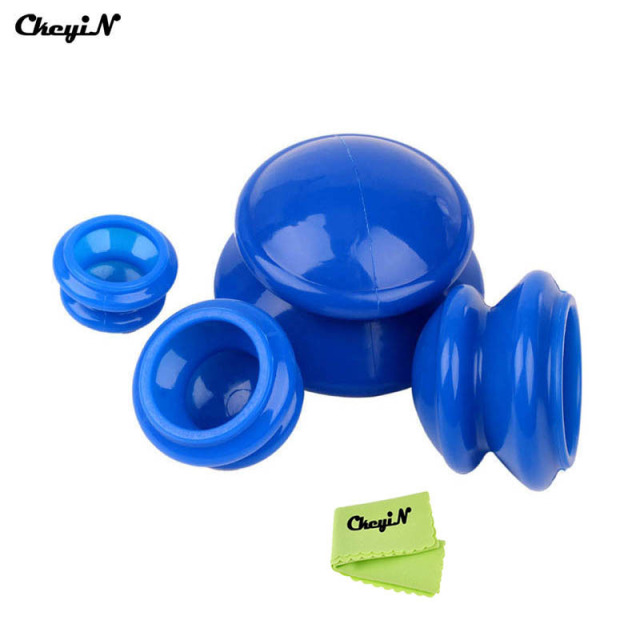 CkeyiN Quality 4Pcs Cup Premium Transparent Silicone Cupping Set Chinese Therapy Cellulite Medical Vacuum Silicone Massage Cups