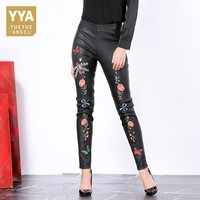 Sheepskin Leather Womens Pants 2019 Fashion Embroidered Flares Skinny Ankle Length Trouser High Waist Casual Stretchy Pantalones