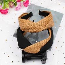 Hair Accessories Bohemian Hairband Summer Straw Weaving Knotted Headband for Women Cross Handmade Hoop