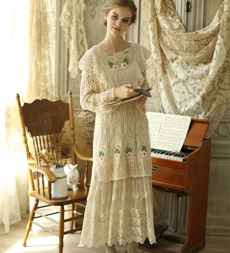Original Design Spring Autumn Winter Women Elegant Victoria Vintage Royal Embroidery Lace Mori Girls 60%Wool Sweater Dresses