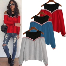 Female Jumper Sweatshirt Off Shoulder Patchwork Top 2019 Autumn Winter Crew Neck Pullovers Tracksuit Ladies Tops crew neck crop sweatshirt