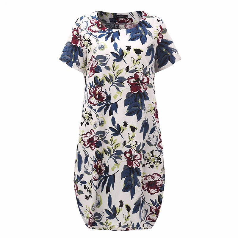 OLGITUM 2018 Summer Women Dress Big Florals Print Women Short Sleeve Vestidos Bodycon Vintage Falda Plus size 5XL DR139