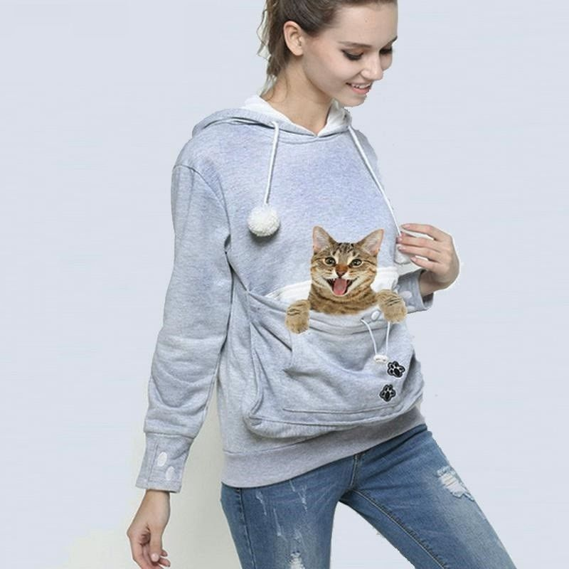 Unisex Big Kangaroo Pouch Hoodie Long Sleeve Pet Dog Cat Holder Carrier Sweatshirt For Small Pet Lovers Drop Shipping