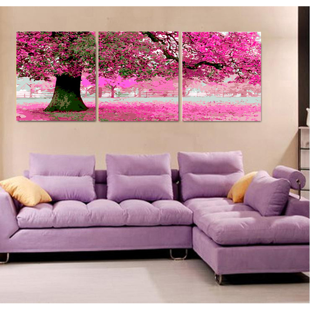 Pink cherry flower Hand painted canvas Triptych oil paintings wall ...