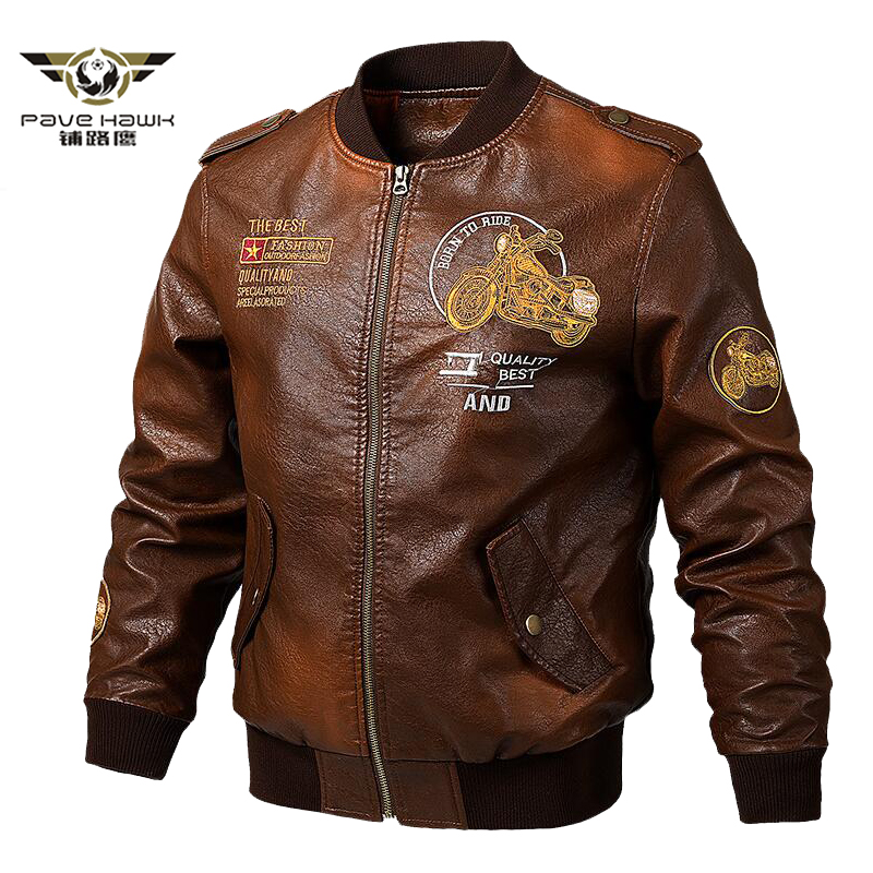 Men's Leather Jackets And Coats Male Motorcycle Leather Jacket Casual Slim Brand Clothing V-Neck Collar Coats