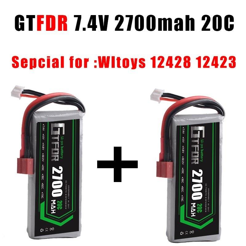 GTFDR POWER 2PCS RC Lipo Battery 2S 7.4V 2700mah 20C Max40C foryuefei 03 Wltoys 12428 12423 1:12 RC Car Spare parts RC Boat