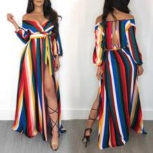 8b3d562ae1 (Ship from US) Fashion Summer Dress Female 2018 Hot Women Off Shoulder  Striped Maxi Loose Long Dress Tea Dress Boho Shirt Dress Vestidos Robe