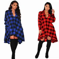 2018 Spring Blue Red Black White Plaid Dress African Dresses For Women A Line Long Sleeve