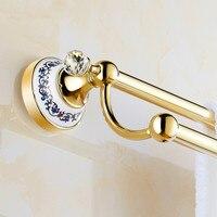 Gold Plate Antique Ceramic Towel Rack Double Towel Hanging Pendant European Bathroom Towel Bar 60cm Brass