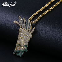 Missfox Indian Style Gold Pendant Necklace Men's Copper Metal Lab Diamond Fashion Colored Jewelry Hip Hop Top Quality 2019 Hot