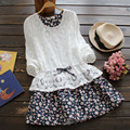 Spring Women's Kawaii Female Floral Hollow Out Waist Long Sleeved Cute Fake Two Piece Lace Princess Dress Mori Girl Vestido U630