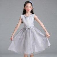 Cute Girls Bow Dress New Summer Mesh Girls Clothes Gray Beading Princess Wedding Mesh Cinderella Dress Clothes12 Years