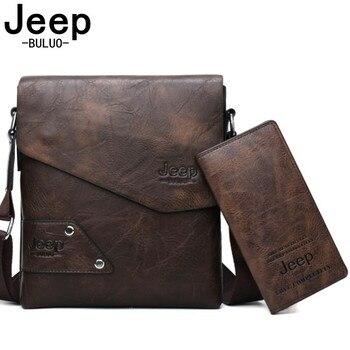 c33599728 BULUO JEEP de cuero de los hombres de la marca de 2 piezas conjunto hombro  casuales de negocios de cuero bolsa bolso hombre bolso de alta calidad  casual