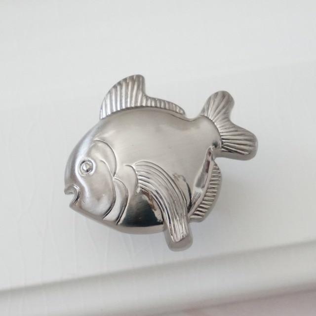 Fish Drawer Pull Handles Dresser Knobs Cabinet Door Knob / Furniture Hardware  Nautical Sea Silver Nickel