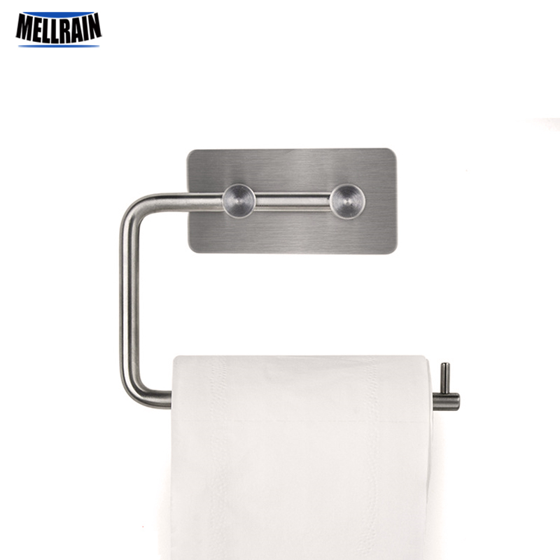 Stainless steel toilet paper holder Bathroom paper towel rack stick force autohesion kitchen wall mounted towel holder fastnet force 10 rei paper only