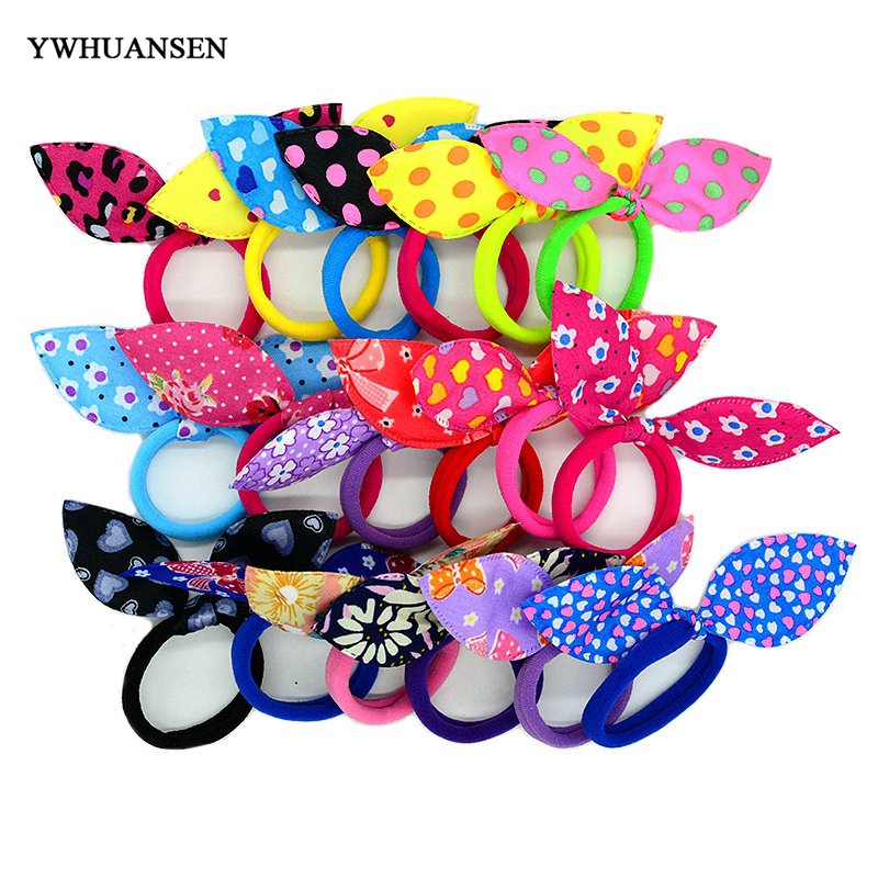 YWHUANSEN 20pcs/lot Rabbit ears Hair band Children kids Hair Accessories Scrunchies Elastic Hair Band for women girl rubber band